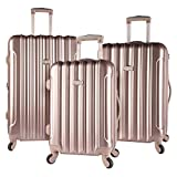"kensie 3 Piece ""Alma"" Light Metallic Style TSA-Lock Spinner Luggage Set, Rose Gold Option"