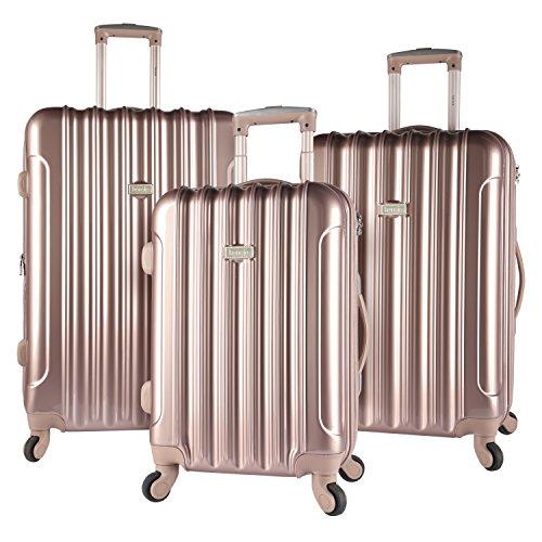 kensie 3 Piece Light Metallic Design 4-Wheel Luggage Set, Rose Gold Color Option by kensie