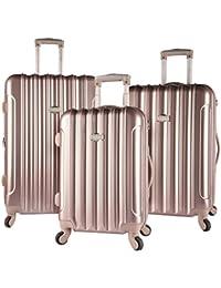 3 Piece Light Metallic Design 4-Wheel Luggage Set, Rose Gold Color Option