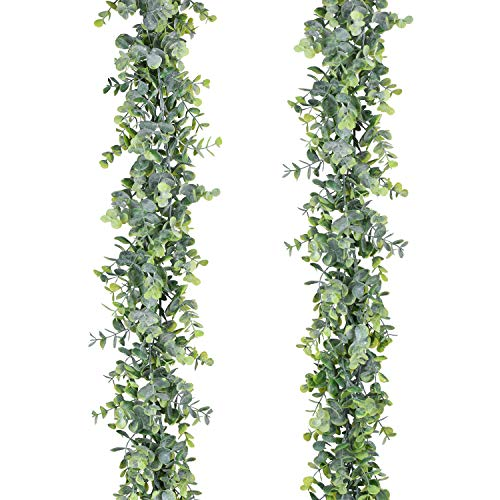 Lvydec 2 Pack Artificial Eucalyptus Garland, Fake Eucalyptus Greenery Garland Wedding Backdrop Arch Wall Decor, 6 Feet/Strand Fake Hanging Plant for Table Festival Party Decoration -