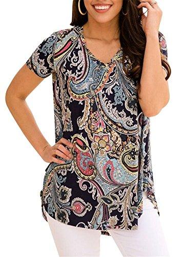 ETCYY Women's Casual Short Sleeve V-Neck Peacock Print High Low Hem Blouse Tops T-Shirt - Cotton V-neck Blouse