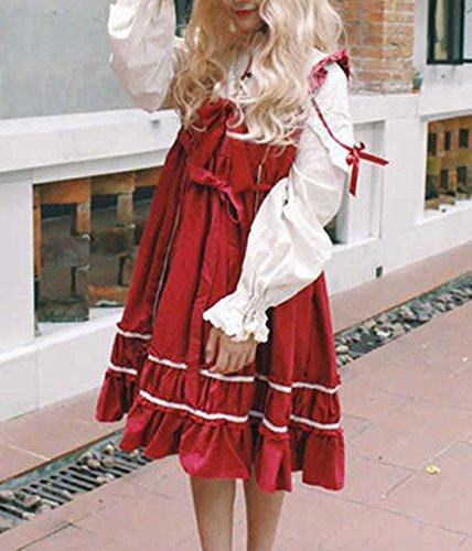 CHDT Kleid Shirt Niedlich Falten Damen Partykleider Lolita Neck Kleider mit Bandage Gefälschte Kleid Rot High Stücke Sommer Langarm Knielang Zwei vqFvxwrWAg