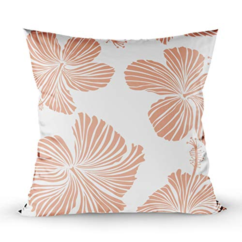 Shorping Decorative Pillow Covers, Zippered Covers Pillowcases 16X16Inch Throw Pillow Covers Pattern of Tropical Hibiscus Flowers in Colors with Watercolor Effect White for Home Sofa Bedding