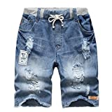 YoungSoul Big Boys Ripped Pull-On Jeans Shorts Stonewash Denim 7-8T