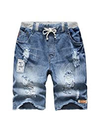 YoungSoul Big Boys Ripped Pull-On Jeans Shorts Stonewash Denim 11-12T