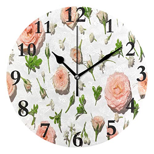 (lightly Personalized Non Ticking Silent Clock Art Living Room Kitchen Bedroom for Home Decor Pink Rose Petal On White Background Round Acrylic Wall Clock)