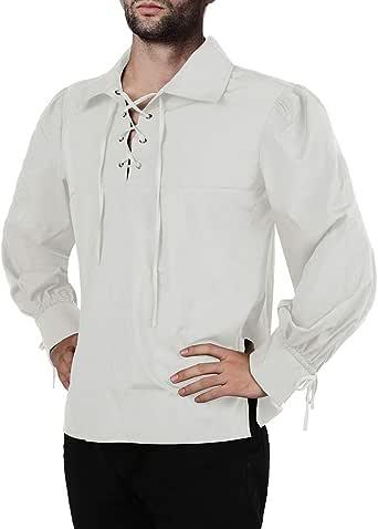 Fueri Camisas góticas con volantes medievales con cordones para cosplay steampunk victoriano pirata manga larga Halloween disfraz blusa Tops: Amazon.es: Ropa y accesorios