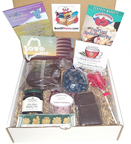 Box of Maine's Valentines Day Gift Basket for Him or Her | Holiday Gift Box | Needhams, Chocolate Blueberries, Whoopie Pie, Cranberry Candle, Lobster pop, Tea, Jam, Maple Candy | Great gift idea