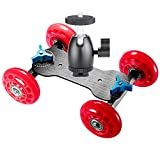 Neewer Table Mobile Rolling Slider Dolly Car (Red) and 1/4-inch Screw Mini Ball Head (Black),Skater Video Track Rail Stabilizer with Load Capacity 10 kilograms/22 pounds for DSLRs and Video Camcorders