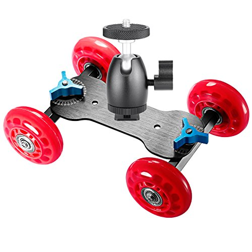 Neewer Table Mobile Rolling Slider Dolly Car (Red) and 1/4-inch Screw Mini Ball Head (Black),Skater Video Track Rail Stabilizer with Load Capacity 10 kilograms/22 pounds for DSLRs and Video Camcorders by Neewer