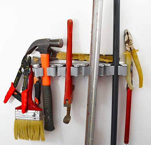 Not Yet Another Mop and Broom Holder, Clips Hold Everything Better Than Rollers, 4 Sliding Grippers and 6 Hooks, Extra Space in Between, Wall Mount on Aluminum Rack by 2 Screws Only, Hanger Organizer