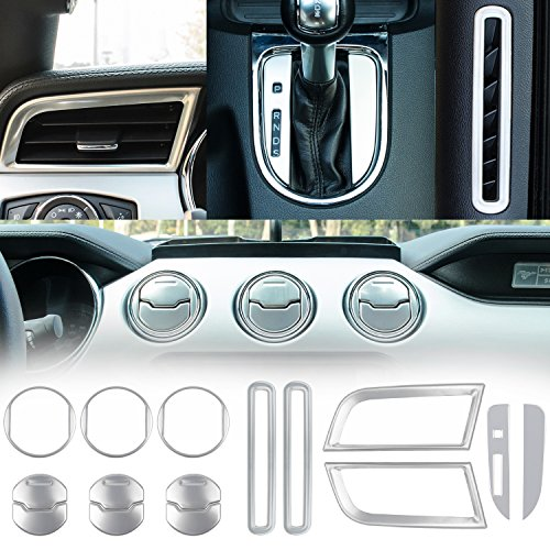 Danti Car Interior Accessories Decoration Trim Console Central & Car Door & Dash Board Side Air Conditioner Outlet Vent, Shift Gear Box Switch Button Cover Trim For 2015-2019 Ford Mustang ()