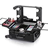 Ovonni Small LED Makeup Train Case, Lighted Rolling Travel Portable Cosmetic Organizer Box with Mirror and 4 Detachable Wheels, Professional Artist Trolley Studio Free Standing Workstation, Black