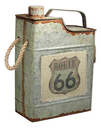 "MayRich 12.5"" x 8.5"" x 4.25"" Metal Decorative ""Route 66"" Gas Canister with Rope Handles"