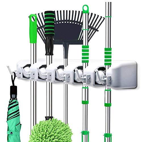 Asmatgenix Cleaning Supplies – 5 Layer Mop and Broom Holder, Garden Storage Rack & Garden Tool Organizer, Multipurpose…