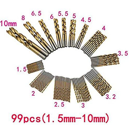 DreamColor 99 PCS 1.5mm-10mm HSS Twist Drill Bit Set Titanium Coated Plastic Wood Metal Drill Bits Set