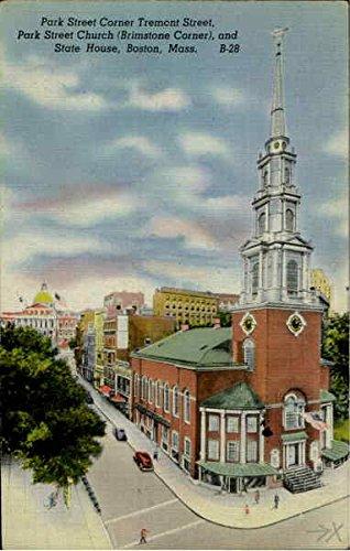 Park Street Corner Tremont Street, Park Street Church Brimstone Corner, and State House Original Vintage Postcard (Corner Church)