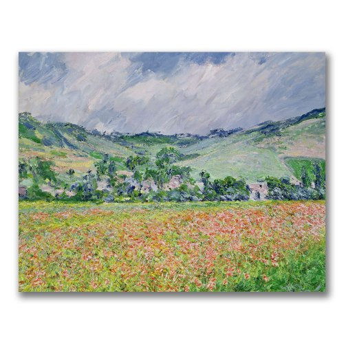 The Poppy Field Near Giverny by Claude Monet, 35x47-Inch Canvas Wall Art (Poppy Monet Fields)