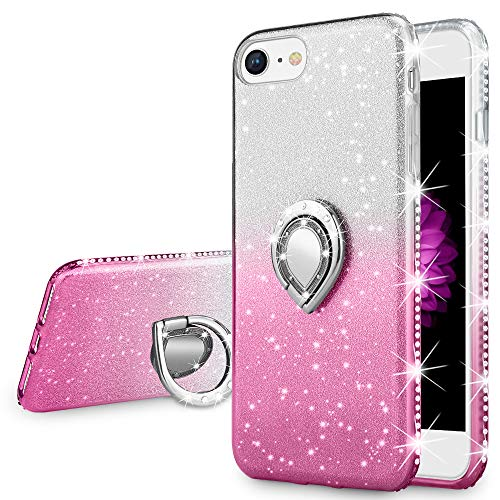 VEGO Case Compatible with Apple iPhone 7 iPhone 8 iPhone 6S,Glitter Gradient Ombre Sparkle Bling Rhinestone Fancy Cute Case with Ring Holder Kickstand for Girls Women for iPhone 7/8/6S(Silver Pink)