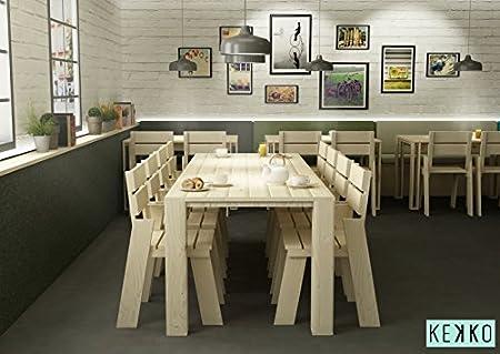 LUFE Mesa de Comedor de Madera Maciza (240 cm (10 Personas ...