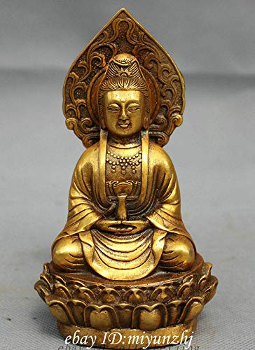 ZAMTAC Folk Chinese Bronze Gilt Buddhism Pot Kwan-Yin GuanYin Buddha Goddess Statue Garden Decoration 100% Real Brass Bronze