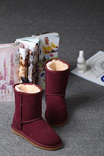 Pecora Inverno Medio Donna 1 34 Rosso Genuino Stivaletto per Tenere NVX Caldo Handmade Piccoli Stivali Vino 39 Pelle metri BqPndx5C