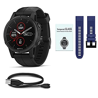 Garmin Fenix 5 Plus Multi Sport Watch Ultimate Bundle - Includes Additional Band | Screen Protectors | & More Accessories