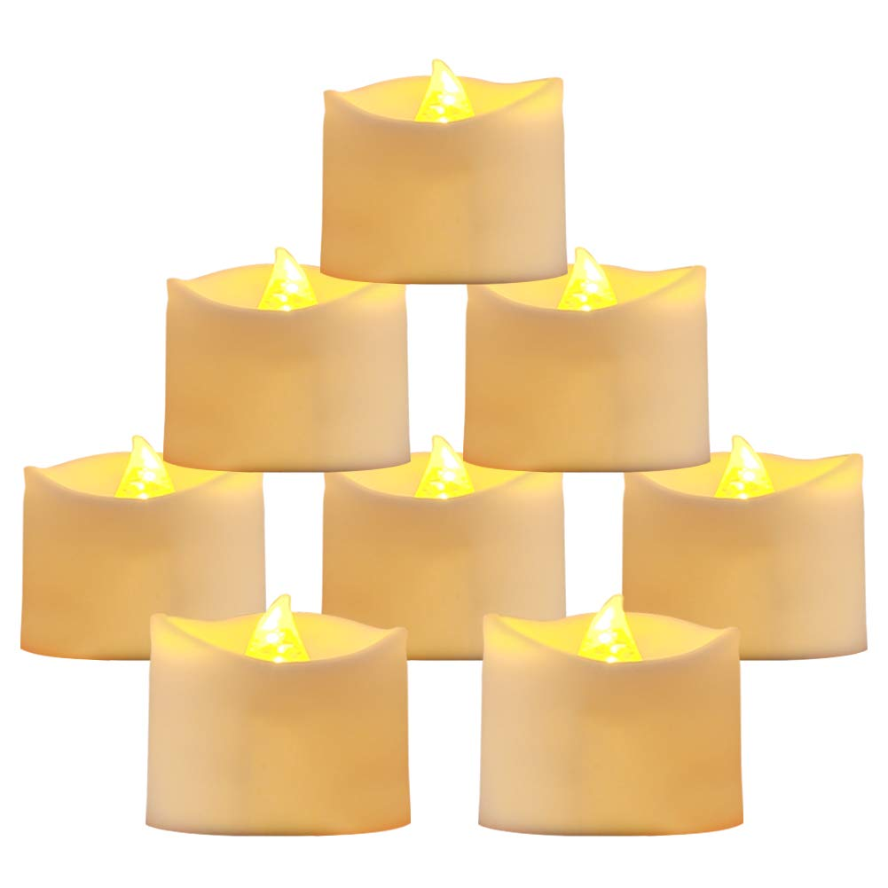 Beichi 24 Pack Flameless LED Tea Lights, Battery Operated Candles for Festival Celebration & Decoration, Flickering Tealight Candles with Melted Edge and Warm Yellow Light