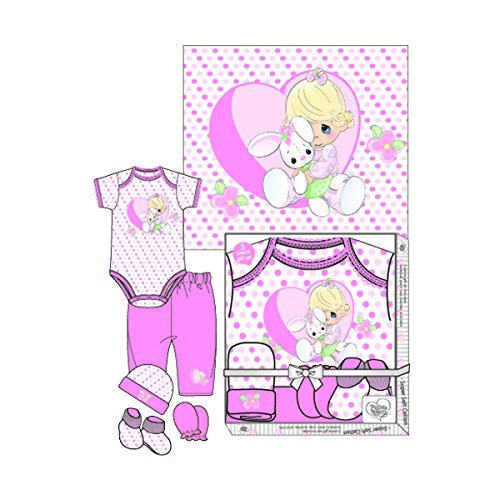 y Girls 5 Piece Pink Clothing Gift Set - Girl with Bunny Rabbit in Heart (0-3 Months) (Precious Baby Girl)