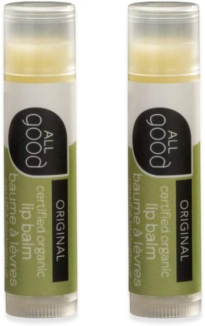 All Good USDA Organic Lip Balm for Soft Smooth Lips - Calendula, Lavender, Olive Oil, Beeswax, Vitamin E (Original)(2-Pack)