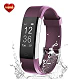 Fitness Tracker - LYOU X5 Plus Fitness Watch Heart Rate Monitor Activity Tracker - Waterproof Bluetooth Wireless Smart Bracelet Pedometer for Android and IOS Phones (Purple)