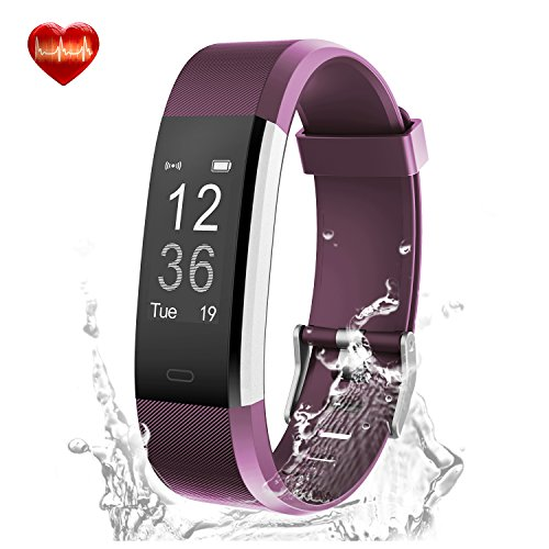 Fitness Tracker, LYOU X5 Plus Fitness Watch Heart Rate Monitor Activity Tracker, Waterproof Bluetooth Wireless Smart Bracelet Pedometer for Android and IOS Phones (Purple)