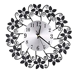 ThsiJJ 3D Wrought Iron Diamond Flower Wall Clock Fashion Creative Mute Metal Clocks Living Room Office Wall Clock Decor
