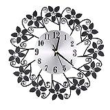 AnzzhonVintage Flower Wrought Iron Diamond Fashion Wall Clock Bedroom Mute Metal Wall Clock Decoration(Black,41X40X8cm)