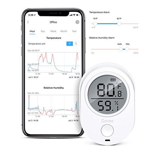 Bluetooth Temperature Humidity Monitor for iPhone/Android, Govee Wireless Indoor Thermometer Hygrometer Humidity Gauge, Humidity Temperature Smart Sensor with Alert(Data Log and Calibration Available)