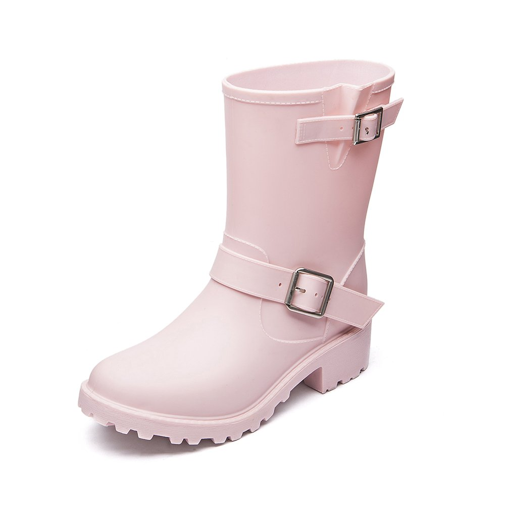 DKSUKO Womens Rain Boots with Elastic Adjust Waterproof -6 Colors-Motorcycle Boots for Girls (7 B(M) US, Pink)