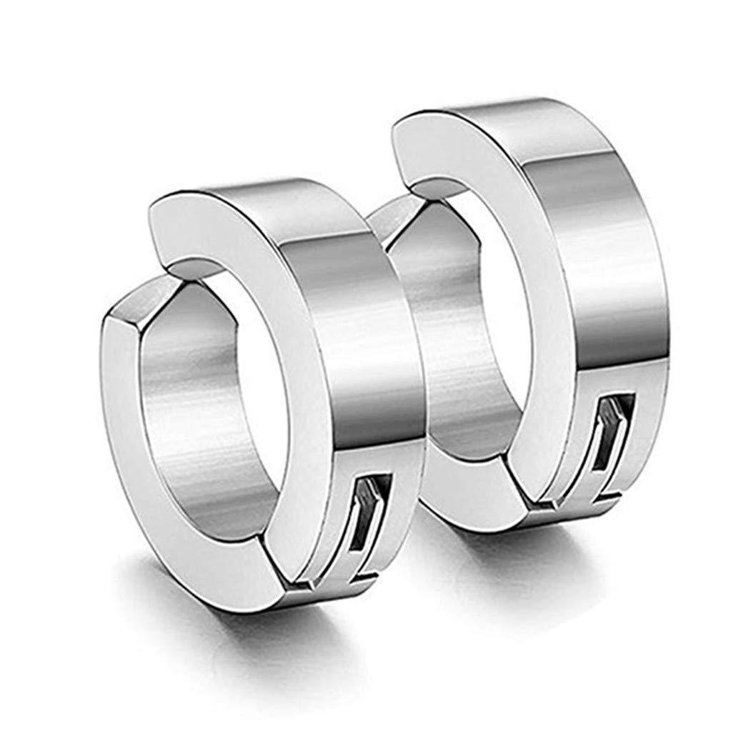 GOMYIE 1 Pairs Titanium Steel Clip On Earrings Non Pierced Huggie Hoop Fake Earrings For Men Or Women(Steel color)