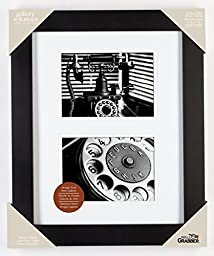 Pinnacle 11-inch-by-14-inch Gallery Solutions Frame Matted to two 5-inch-by-7-inch Openings, Black