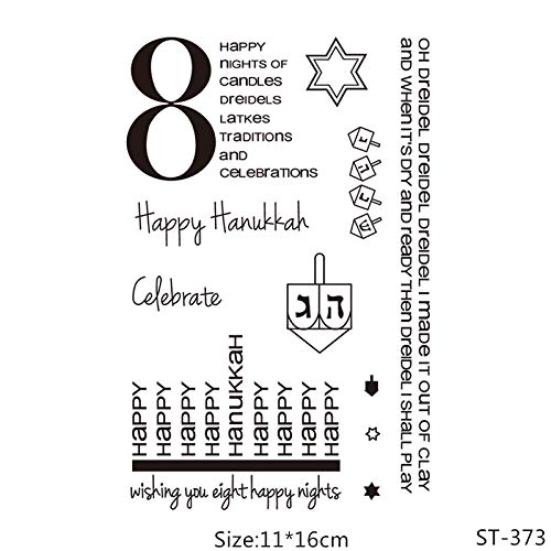 Happy Hanukkah Clear Silicone Stamp/Seal for DIY Scrapbooking/Photo Album Decorative Clear Stamp Sheets