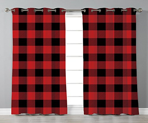 Thermal Insulated Blackout Grommet Window Curtains,Red Plaid,Lumberjack Clothing Inspired Square Pattern Checkered Grid Style Quilt Design,Scarlet Black,2 Panel Set Window Drapes,for Living Room Bedro (Color Pattern Split Plaid)