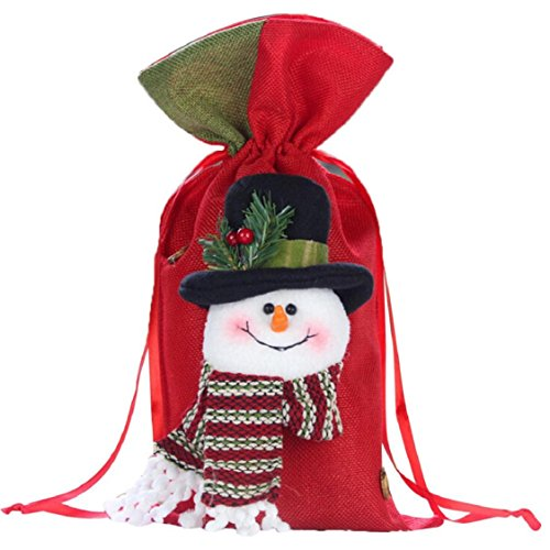 Ikevan 2017 Christmas Santa Snowman Elk Gifts Sack Bags Christmas Color Red Candy Stocking Filler- Christmas Day Decoration 37x20cm (B) (Sack Snowman)