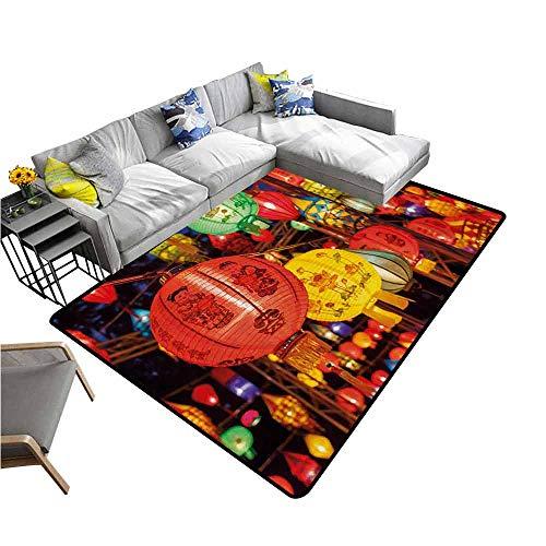 - Door Mat Living Room Non-Slip Lantern,International Chinese New Year Celebration China Hong Kong Korea Indigenous Culture,Multicolor 80