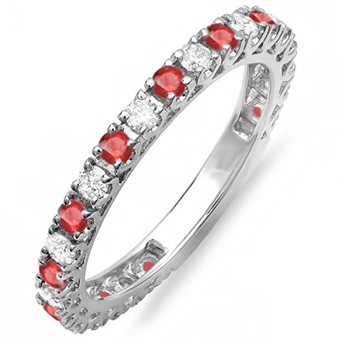 Dazzlingrock Collection 10K Round Ruby And White Diamond Eternity Stackable Ring Anniversary Wedding Band, White Gold, Size 7