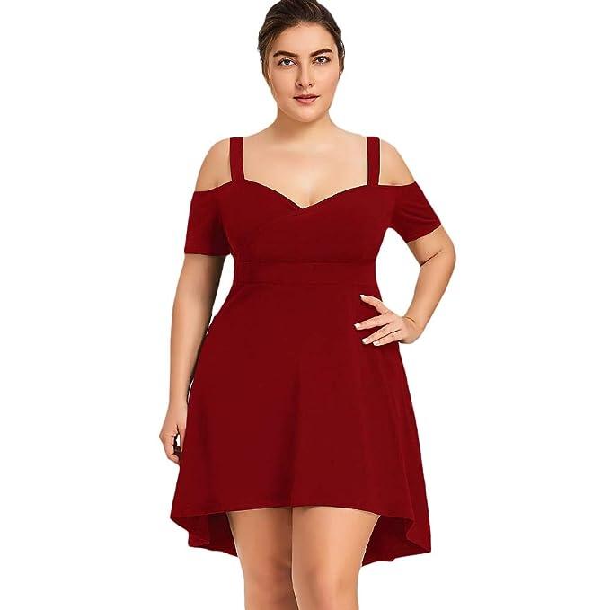 FUZHUANGHM Off Shoulder High Low Women Dress Plus Size Solid ...