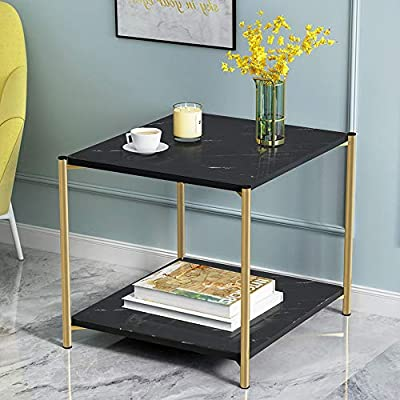 Square Coffee Table,4HOMART Two-Layer Marble Pattern End Table Modern Minimalist Square Snack Table Household Side Table for Living Room - LIGHT LUXURY GOLD STEEL FOOT - steel 15 square pipe, not easy to shake, stable structure, not easy to damage.Light luxury gold, embellishment of modern quality of life WIDE TABLE DESIGN - wide table design, smooth touch, can put fruit vase book, convenient to take STABLE STEEL FRAME DESIGN - use steel tube design, good stability, not easy to deformation, strong bearing force - living-room-furniture, living-room, end-tables - 51QLHg1pcxL. SS400  -