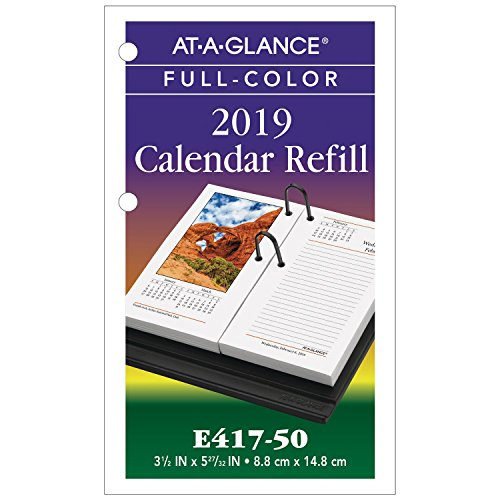 AT-A-GLANCE 2019 Desk Calendar Refill, 3-1/2