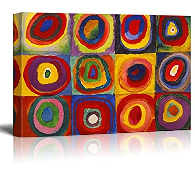 Abstract Canvas Art Squares with Concentric Circles Squares with Concentric Circles by Wassily Kandinsky Giclee Canvas Prints Wrapped Gallery Wall Art | Stretched and Framed Ready to Hang - 24