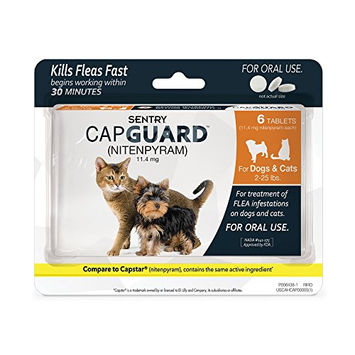 51QLHu4qnuL - SENTRY Capguard (nitenpyram) Oral Flea Control Medication, 2-25 lbs, 6 count