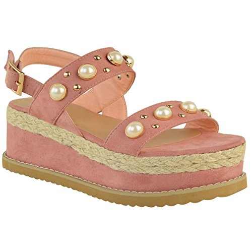 Moda Thirsty Mujeres Alpargata Flatforms Pearl Wedge Summer Sandals Zapatos Size Pastel Pink Faux Suede