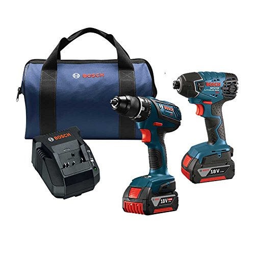 Bosch CLPK232A-181-RT 18-Volt Cordless Drill Driver / Impact Combo Kit with 2 Batteries (2.0 AH Slim Pack Batteries), 18V Charger and Blue Carrying Case (Certified (Cordless Combination Kit)